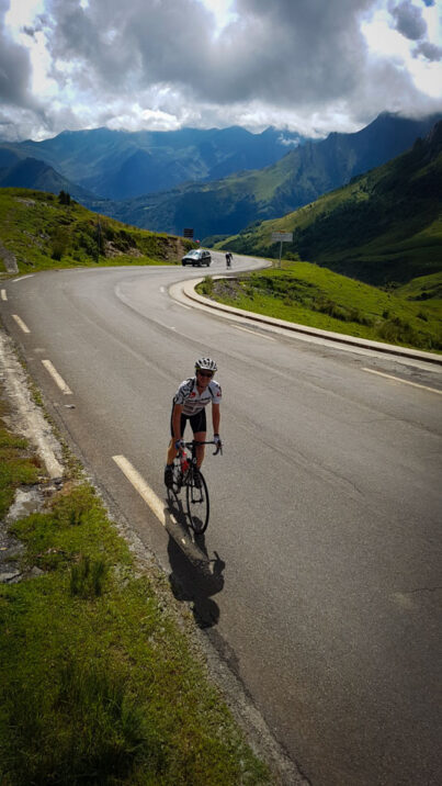 A cyclist on the road near the top of Col du Soulor