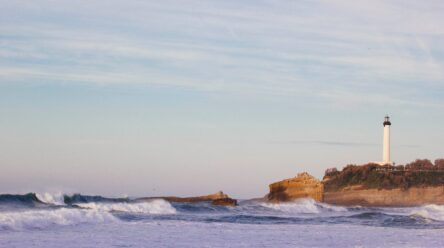 Lighthouse in the distance on the coast of BIarritz