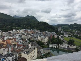 view looking over the town of Lourdes in the French Pyrenees