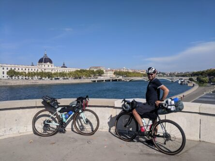 Cyclists in the city of Lyon on the ViaRhona cycling route