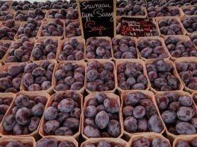 a stall of plums for sale at a French market