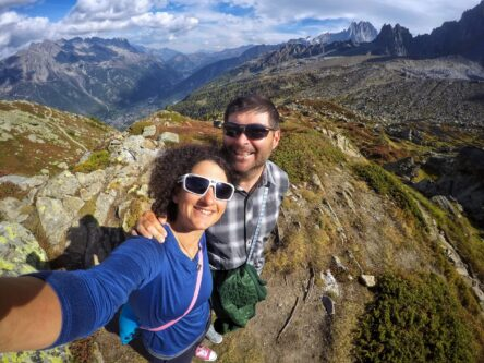 Two people hiking on the Mont Blanc Trail