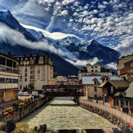 View towards the mountains from Chamonix village.