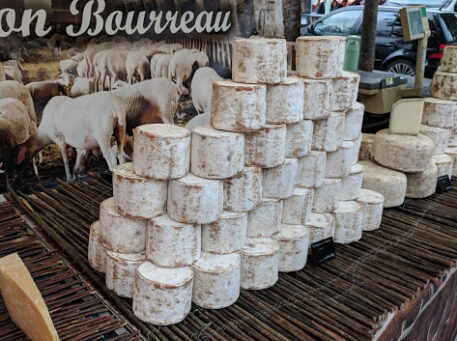 Cheese wheels for sale at Chamonix Market