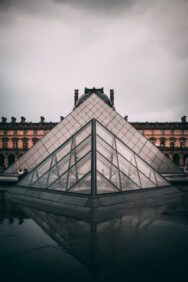 The glass pyramid outside the Lourve in Paris