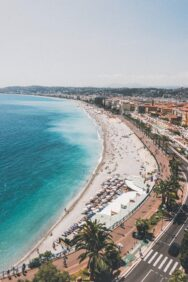View of the beach at Nice from above