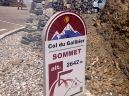 Col du Galibier summit sign, a famous ride in the French Alps