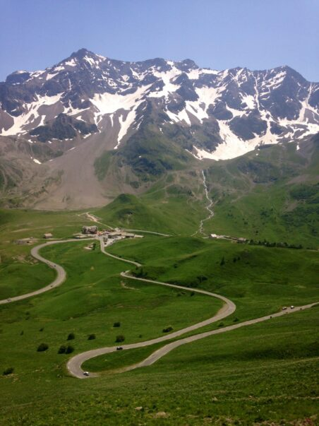 hairpin bend on the famous French Alps climb of the col du Galibier