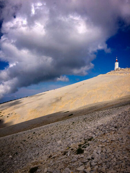 Looking up to the summit of Mont Ventoux