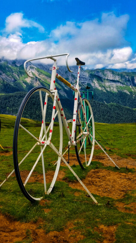 Bike sculpture at the top of Col d'Aubisque